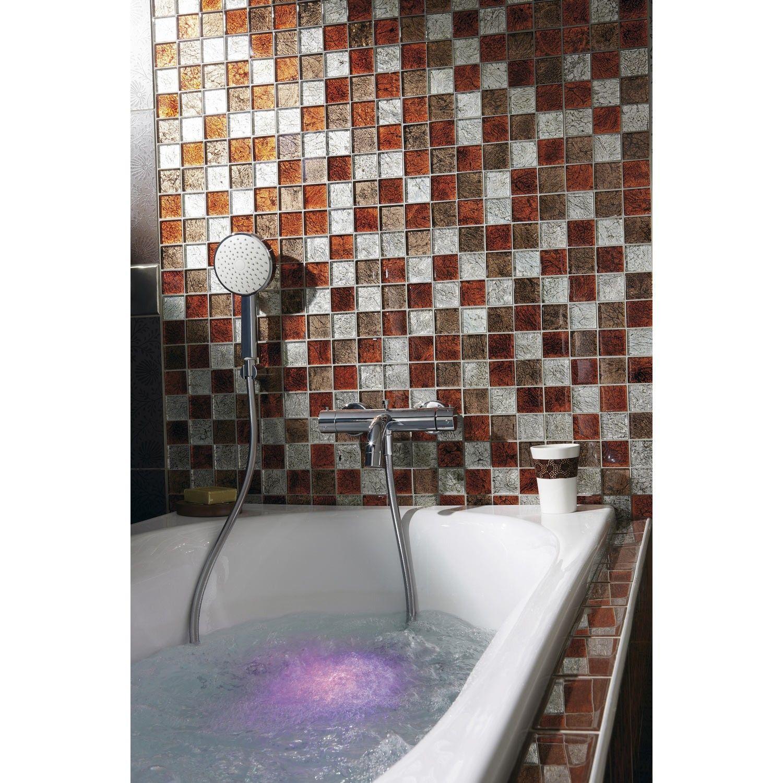 Carrelage mosaique verre faience plaque mosaique lux rouge for Faience mosaique