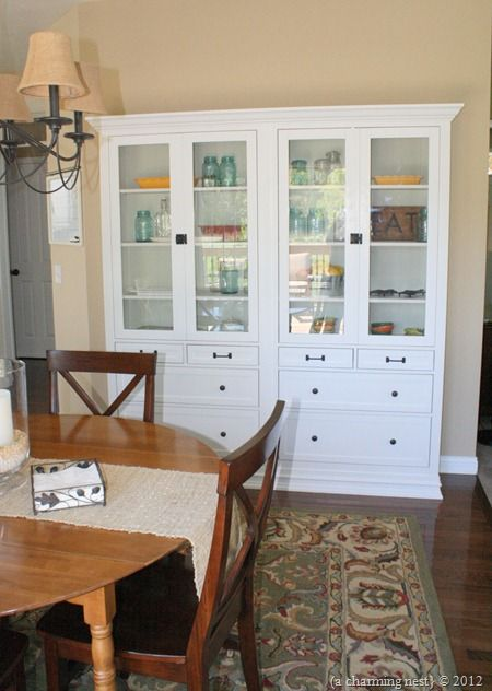 ikea dining room hutch   Amazing hutch built out of ikea hutches. I would love to ...