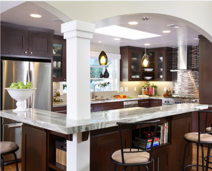 Good layout for a small galley kitchen that 39 s been opened for Open kitchen island ideas