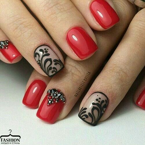 Red Nails With Black Lace Accent Nail Lace Nails Red Nails Nails