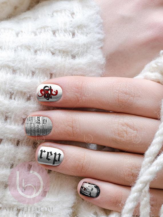 Retion Nail Decal Design Nails Press On Art Fingernail