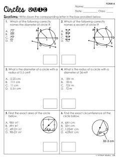 math worksheet : free circles basics quiz vocabulary area circumference shaded  : Area Of Shaded Region Worksheet
