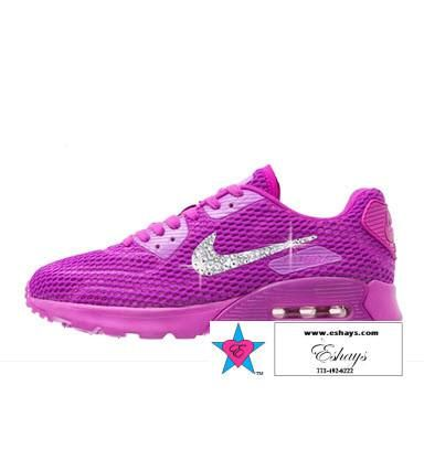 Custom Rhinestone NIKE AIR MAX 90 ULTRA WOMEN'S HYPER VIOLET Clear  RhinestoneSWOOSH - BLING FITNESS SHOES
