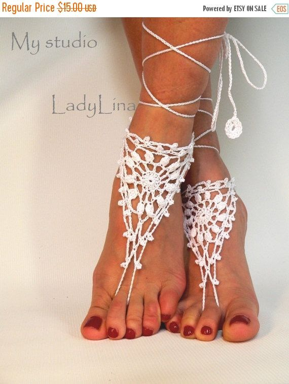 Black Friday Sale White Barefoot Sandles Crochet by LadyAlinaShop