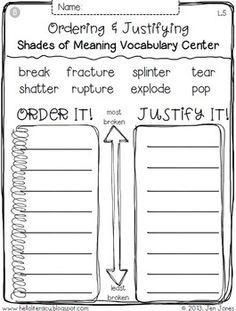 free shades of meaning worksheets - Google Search   2nd ...