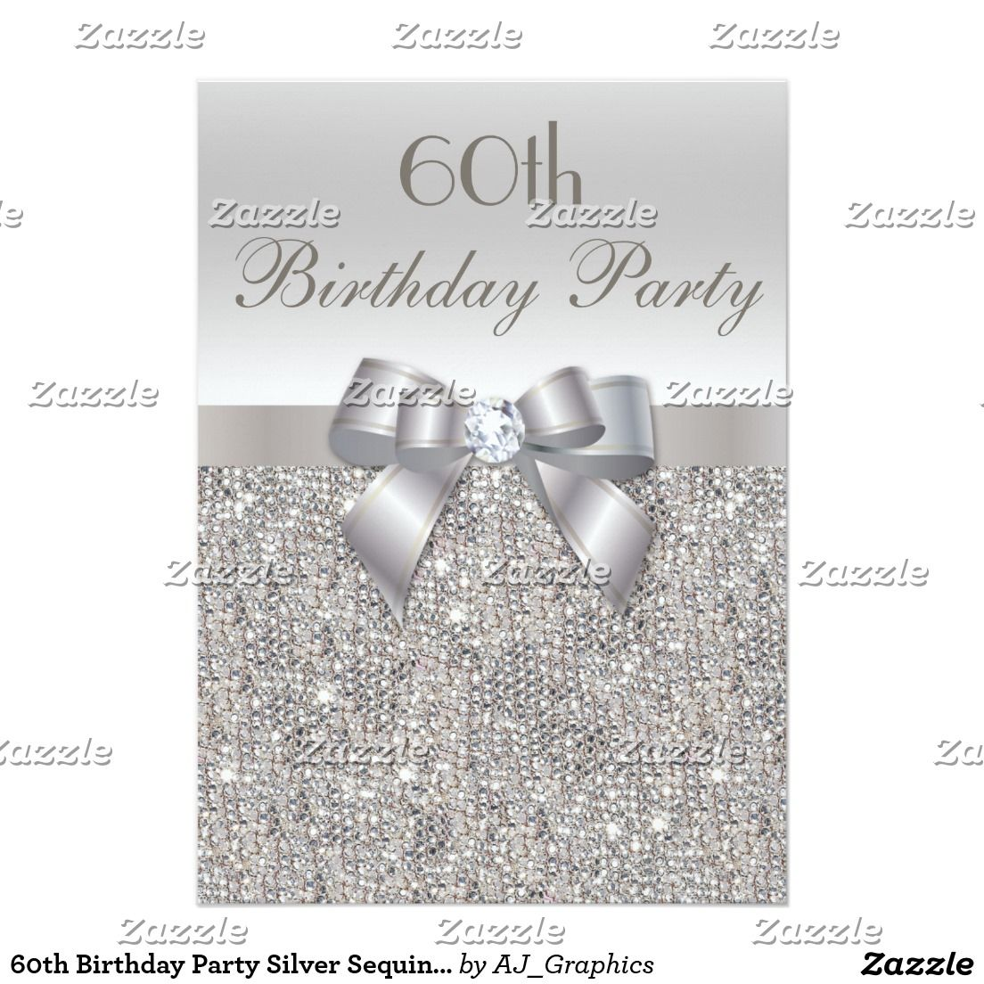 60th Birthday Party Silver Sequins Bow Diamond Card Birthday