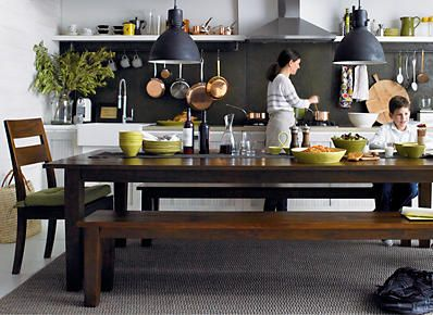 I Like This Idea For Kitchens Long Farmhouse Table With Benches That Can Be Pushed