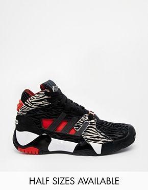 7159ffbdd90aa Adidas Black   Red Streetball High Top Trainers. adidas Originals Black   amp  Red Streetball High Top Sneakers ...