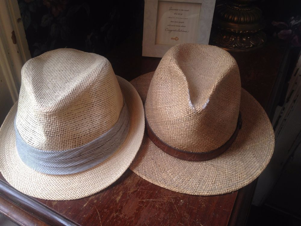 2 Men S Straw Fedora Hats Free Authority L Xl Sima Int L Wide Brim Panama Freeauthority Fedora Straw Fedora Hat Straw Fedora Fedora Hat