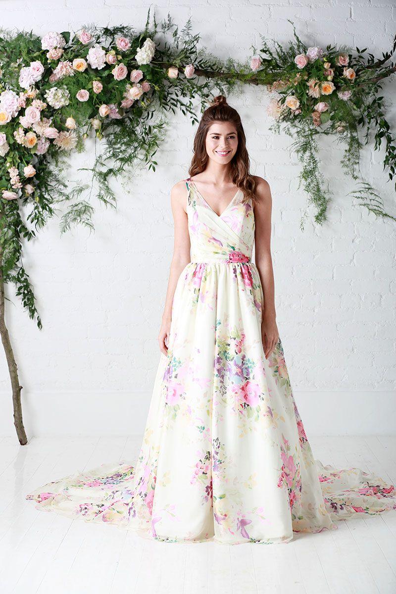 Untamed Love Chiffon Fl Pattern Wedding Dress Ball Gown Ruched Bodice Charlotte Balbier