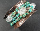 Artisan Copper Fold Formed Bangle with Turquoise and Rock Crystal