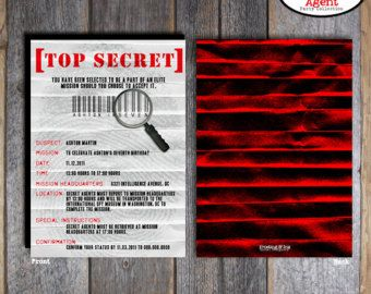 top secret spy party invitation spy pinterest spy party party