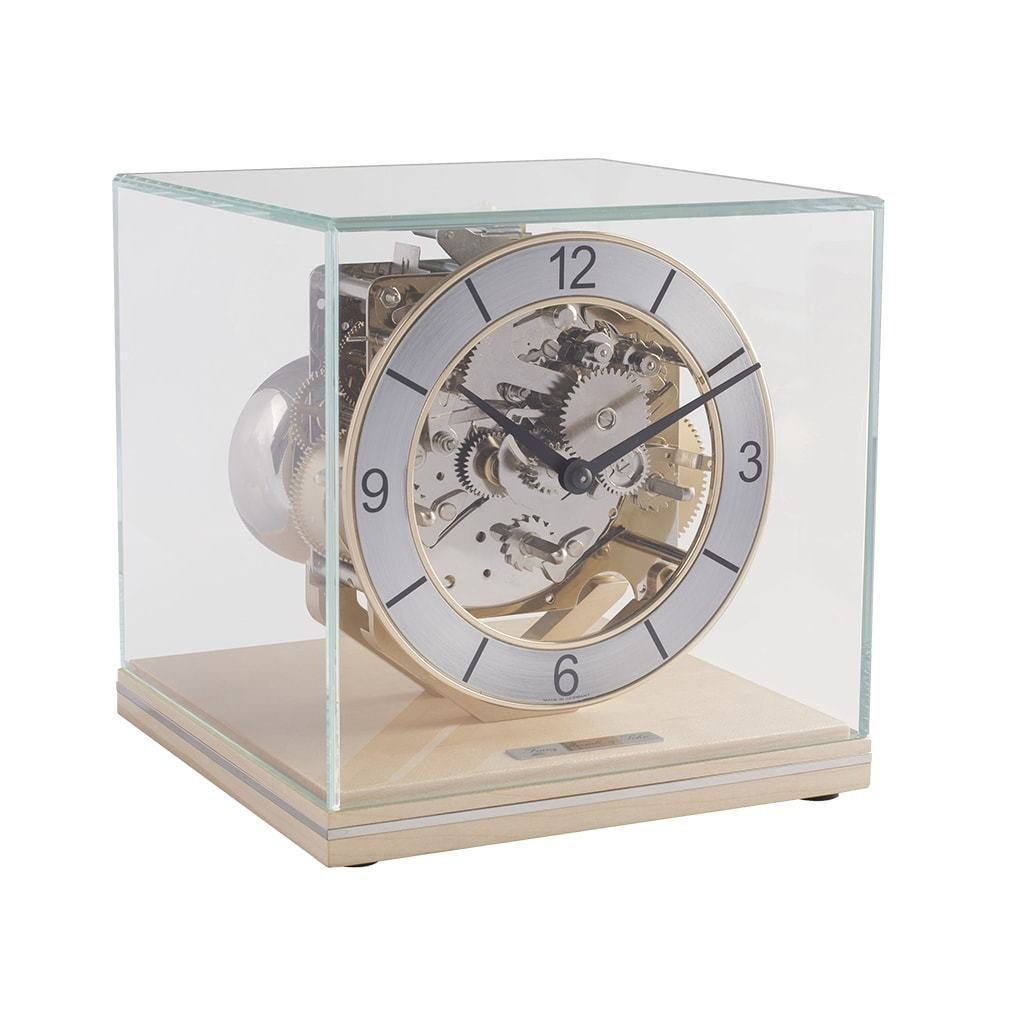 Hermle Clarke Modern Table Clock In Maple Or Red Piano Finish With Metal Inlay Mantel Clock Clock Forest Clock