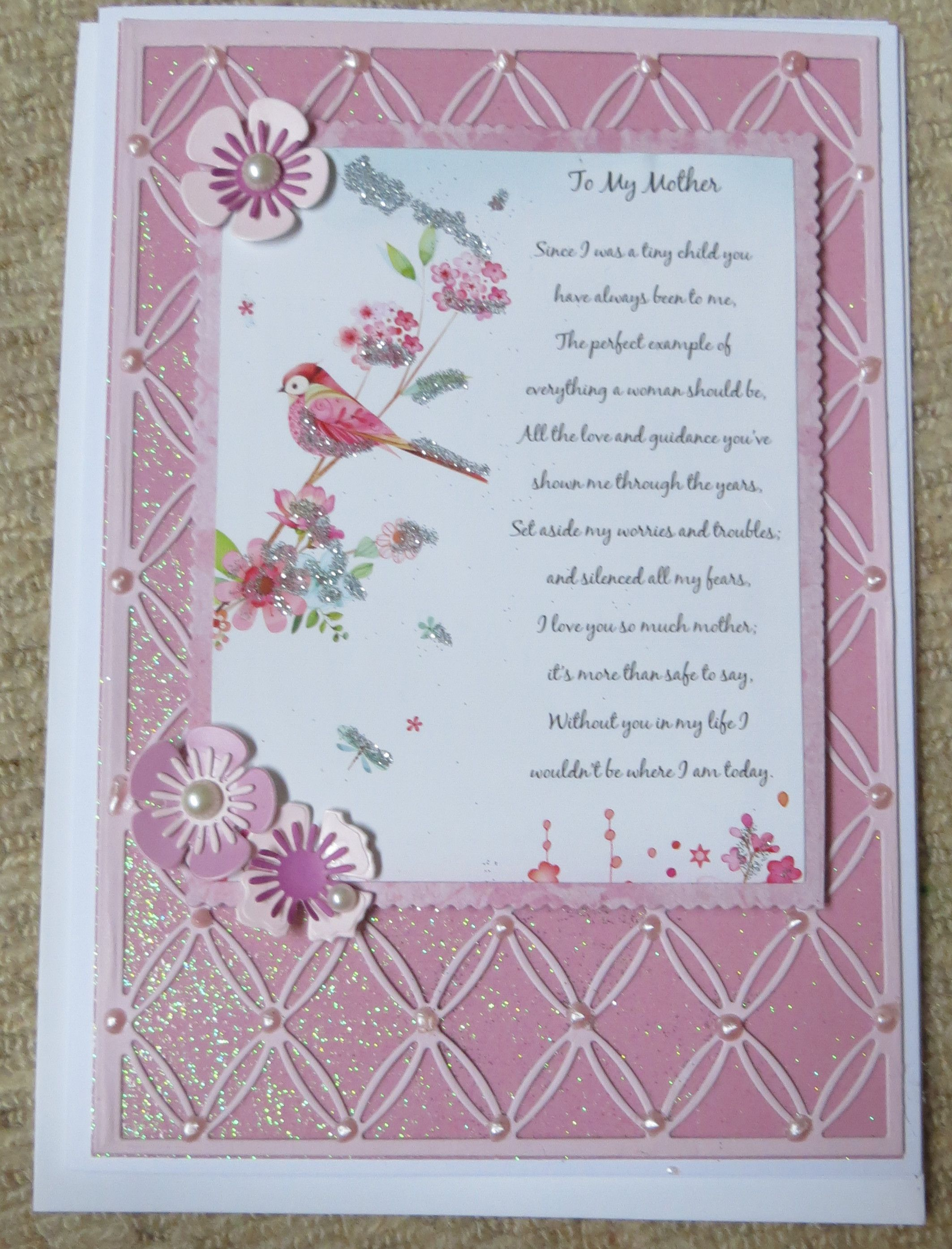 Engagement Card With Embossed Flower Sentiment Verse And Pop-Out Butterflies