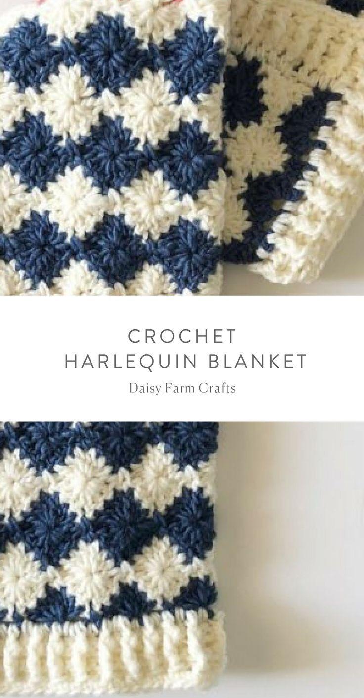 Free Pattern - Crochet Harlequin Blanket #crochet | Crochet Scarves ...