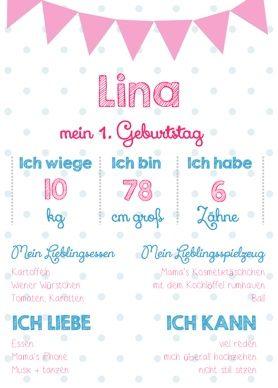 Lina 1 Geburtstag Www Kreidezeit Co At 1st Birthday Memory