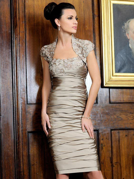 knee length mother of the bride dress/ free jacket Deep champagne full body ruched  On formal occasions can custom made-in Mother of the Bri...