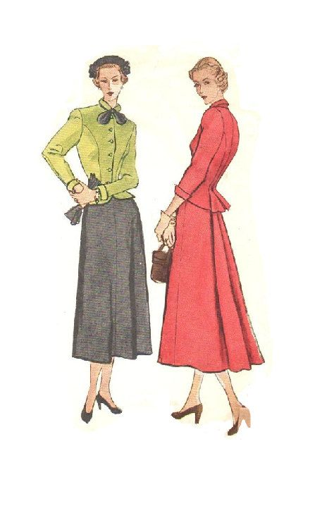 Simplicity 2605 Sewing Pattern 1940s Two Piece Dress Suit Peplum ...