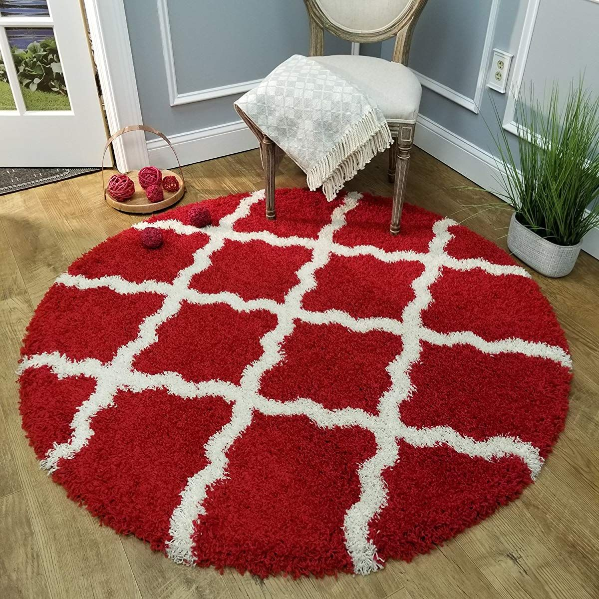 Trellis Red 5 Ft Round Shag Area Rug Area Room Rugs Area Rugs Shag Area Rug