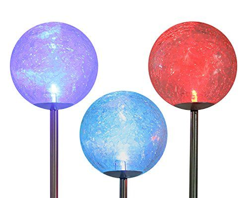 Cracked Glass Solar Stake Lamp SCOPOW Color Changing Solar LED Glass Ball  Light Fixture Decorative Globe Garden Lawn Ornaments Path Walkway Mosaic  Light ...