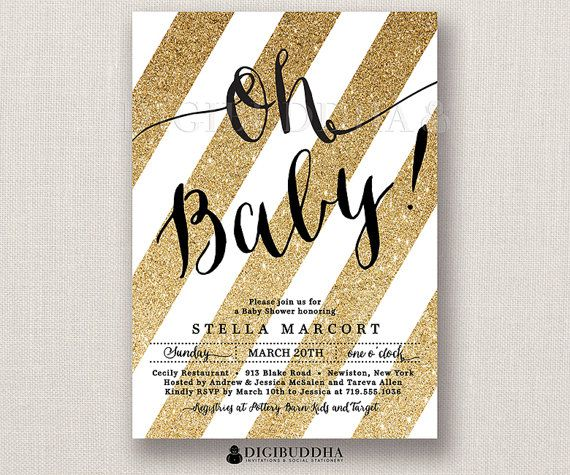 oh baby! gold glitter baby shower invitation faux glitter stripes,