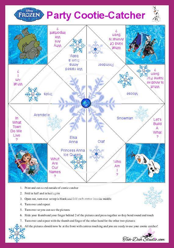 NEW Disney Frozen Cootie Catcher Game Birthday by TahDahStudio, $3.00