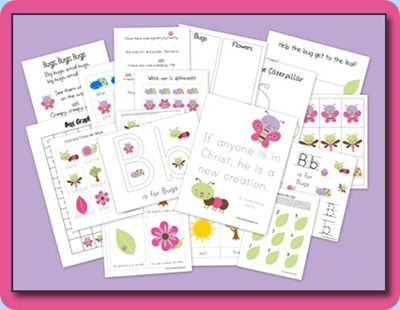 Free Pretty Bugs Preschool Pack