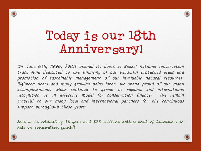 PACT celebrates 18 years.