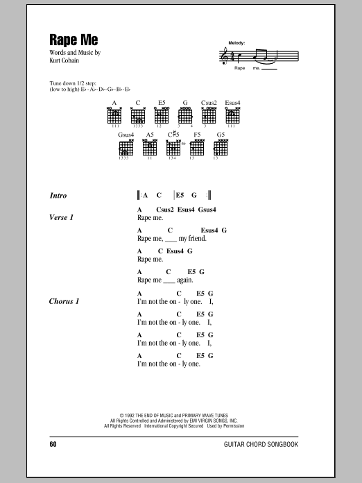 Download Guitar Chords/Lyrics sheet music to Rape Me by Nirvana and ...