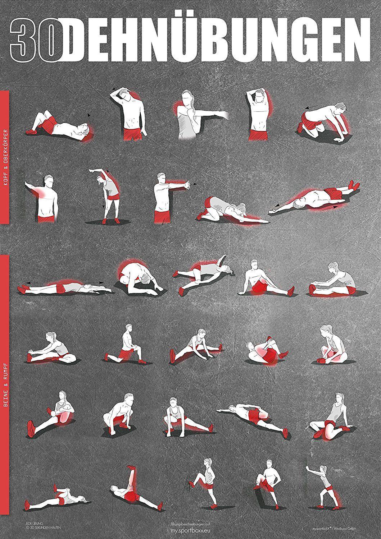 dehn bungen poster din a1 anleitung zum stretching und dehnen f r dein workout. Black Bedroom Furniture Sets. Home Design Ideas