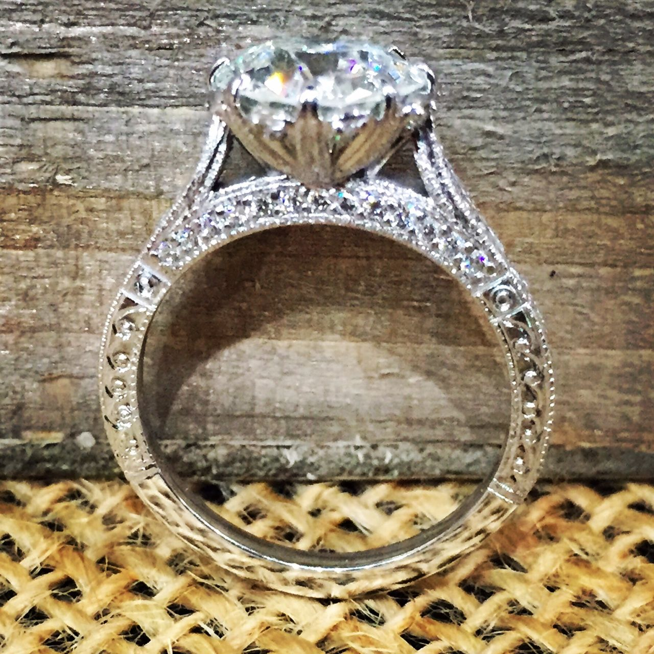 Gorgeous Old European center stone mounted in a 14K white gold ring with intricate hand engraving detail and small diamond accents!! #Follow4follow#Windycitydiamonds#isayyes#14kwhitegold#showmeyourrings#chicago#diamonds#jewelry#shesaidyes#follow4follow#isayyes#futurewife#happiness#perfectring#jewelry