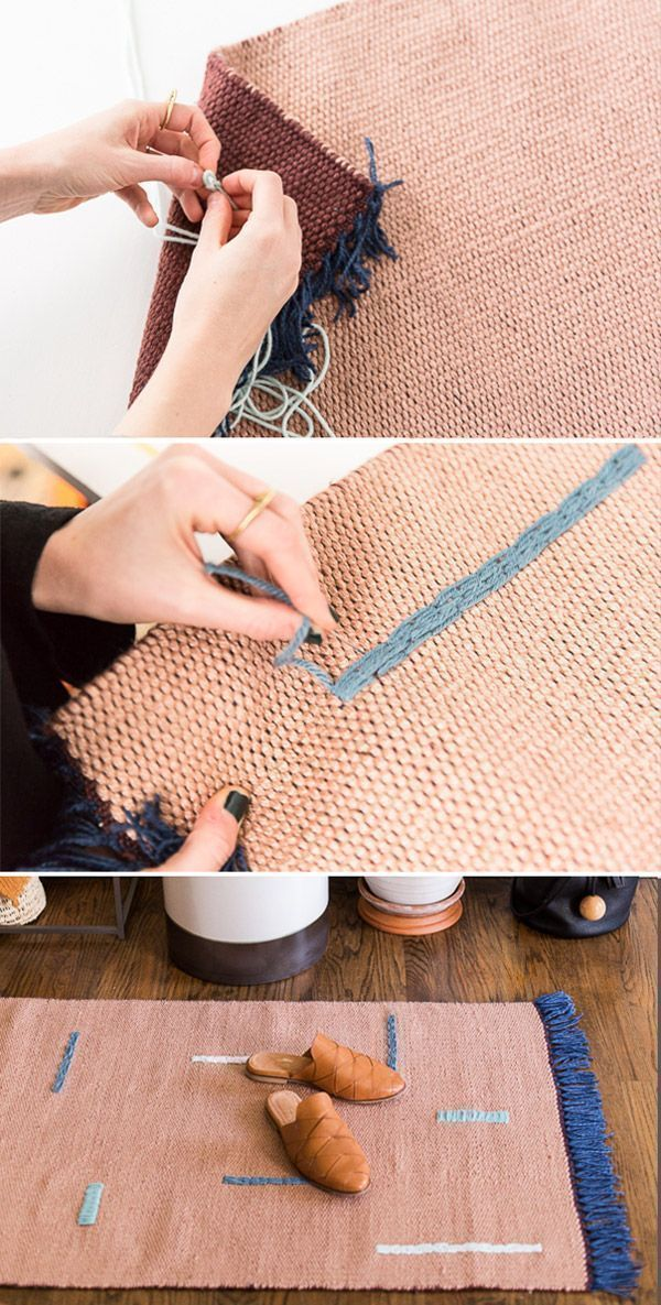 How to customize a plain rug with 2 different embroidery techniques (DIY). #rug #diyrug #entryway #neutrals