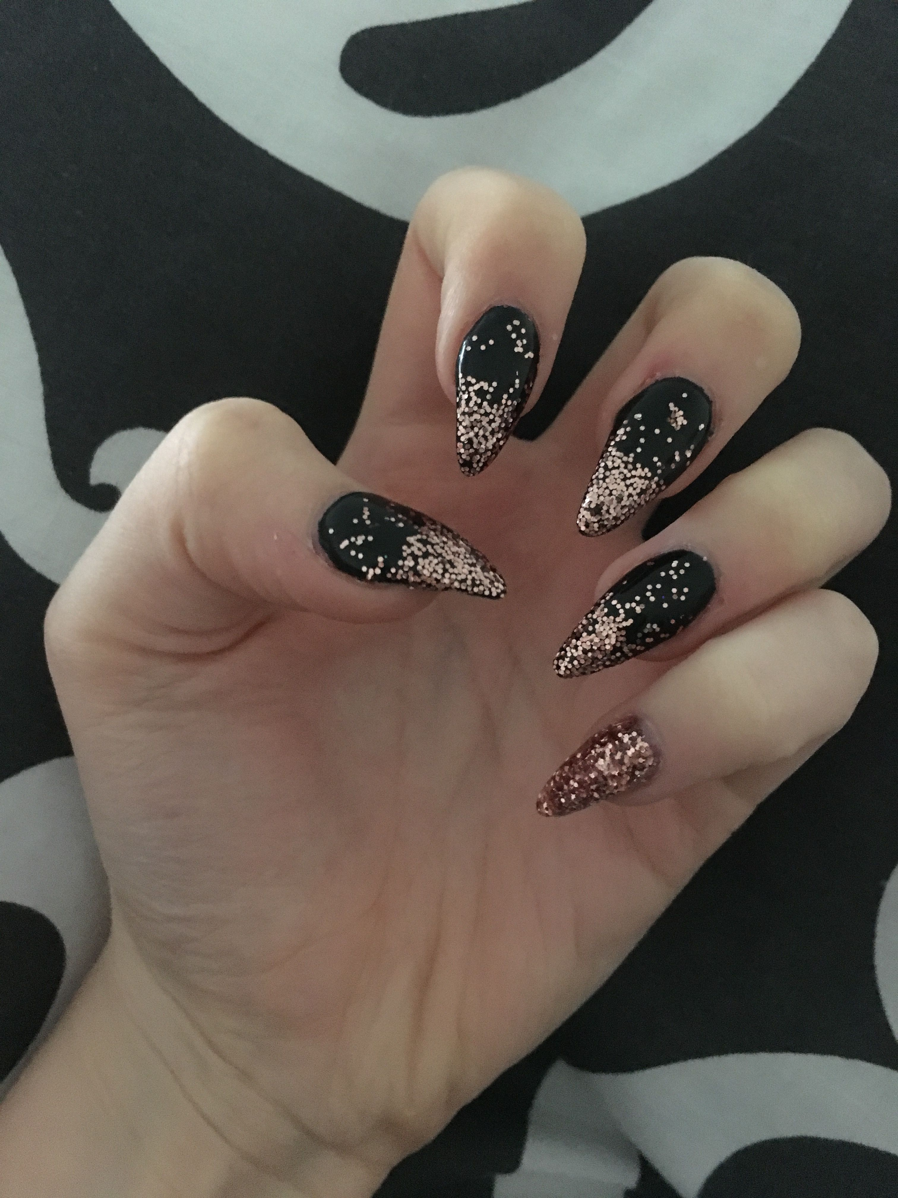 Gold and black stiletto nails photos