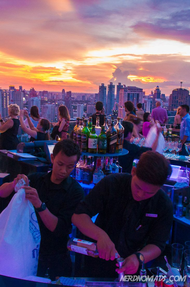 Nothing beats ending your day of sightseeing Bangkok at one of the city`s rooftop bars. Check out what else you should not miss when heading to Bangkok - Our Three Day Bangkok Itinerary: http://nerdnomads.com/what-to-do-in-bangkok