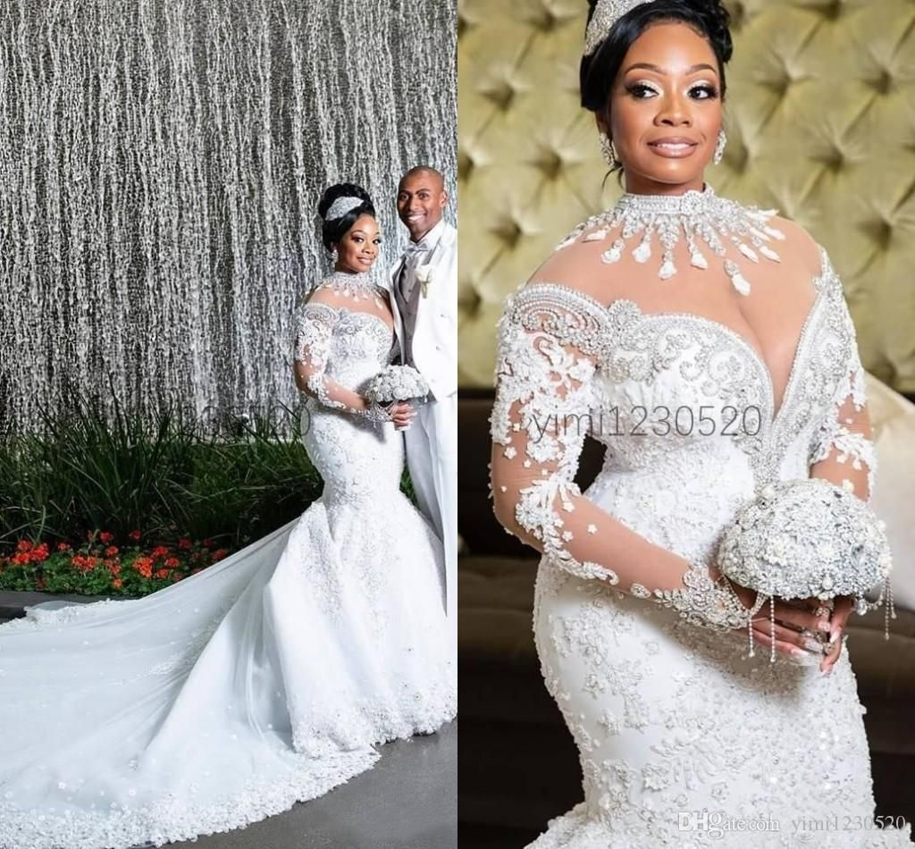Luxury African High Neck Mermaid Wedding Dresses Long Sleeve Chapel Train Appliques Crystal Beads Garden Country Plus Size Bridal Gowns 2020 From Yimi1230520 Different Wedding Dresses Long Wedding Dresses Wedding [ 950 x 1024 Pixel ]