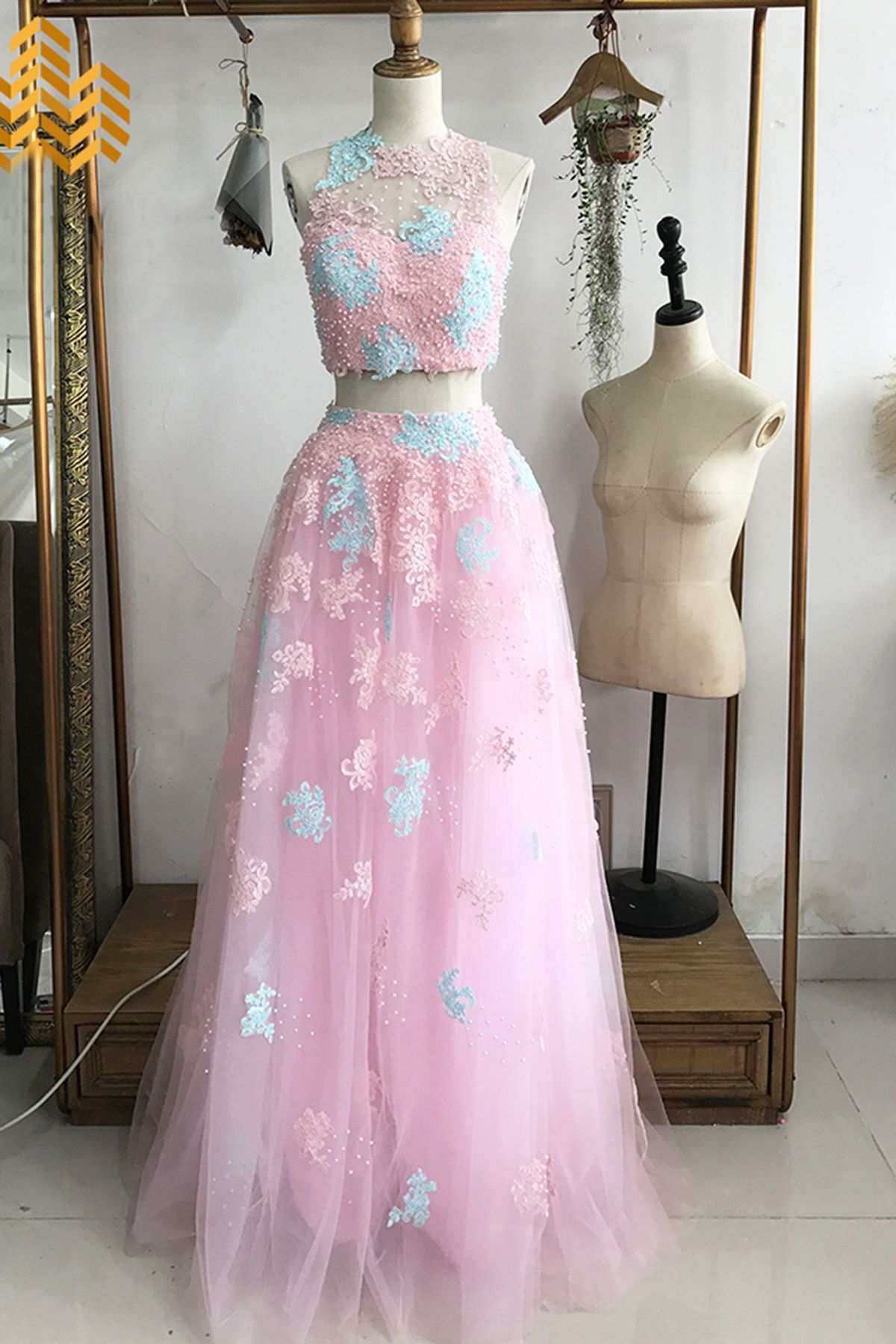 Beautiful pink blue lace tulle two pieces prom dress, prom dresses ...