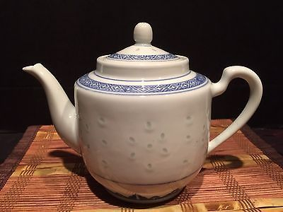 Blue And White Porcelain Teapot W Rice Pattern Design Marked