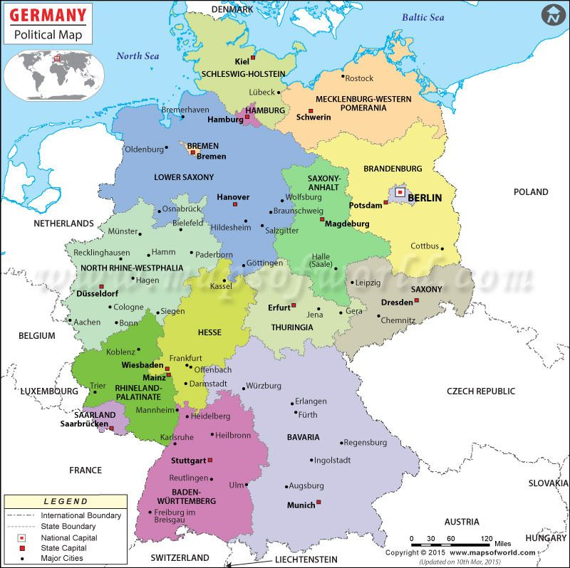 Country Of Germany Map.Germany Political Map Showing The International Boundary States