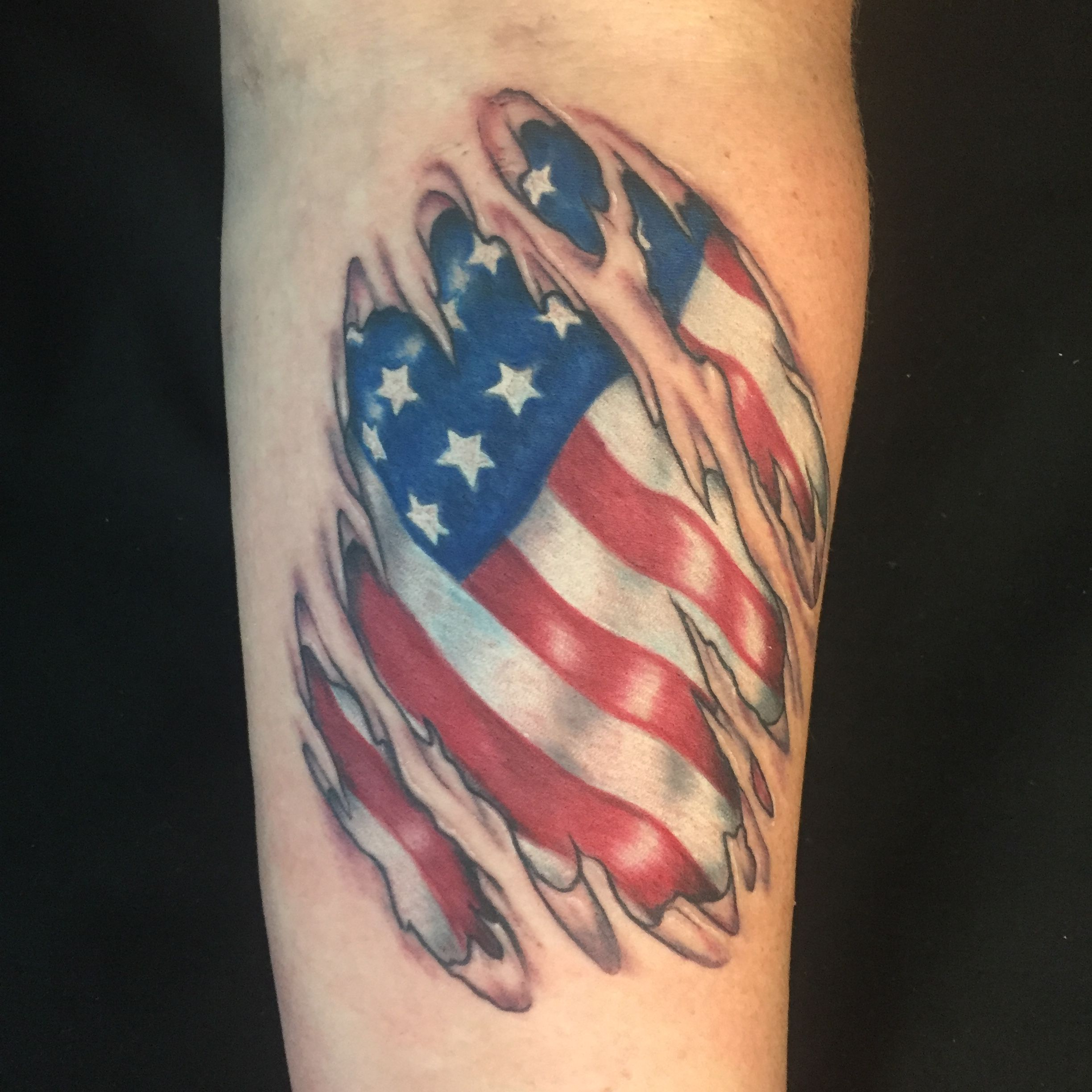 Name canadian flag ripping through skin tattoo designjpg pictures - Finally Got To Do A Flag Under Ripped Skin Usually Don T Like Doing The Skin Rips Tattoos Kind Of But An American Flag Under Skin Rips Will Never Get