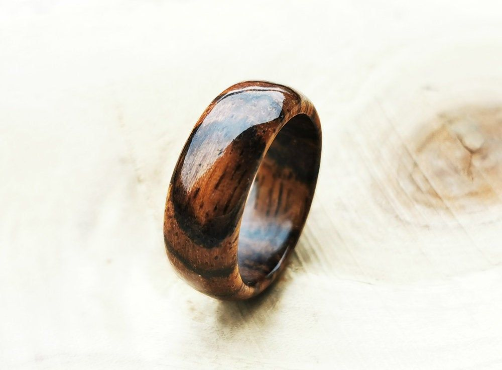 Wooden rings for men Wide Band Ring Bois de violette rosewood ring Alternative ring