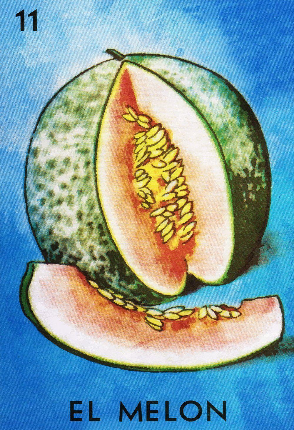 Loteria El Melon Mexican Retro Illustration Art Print Vintage Giclee ...