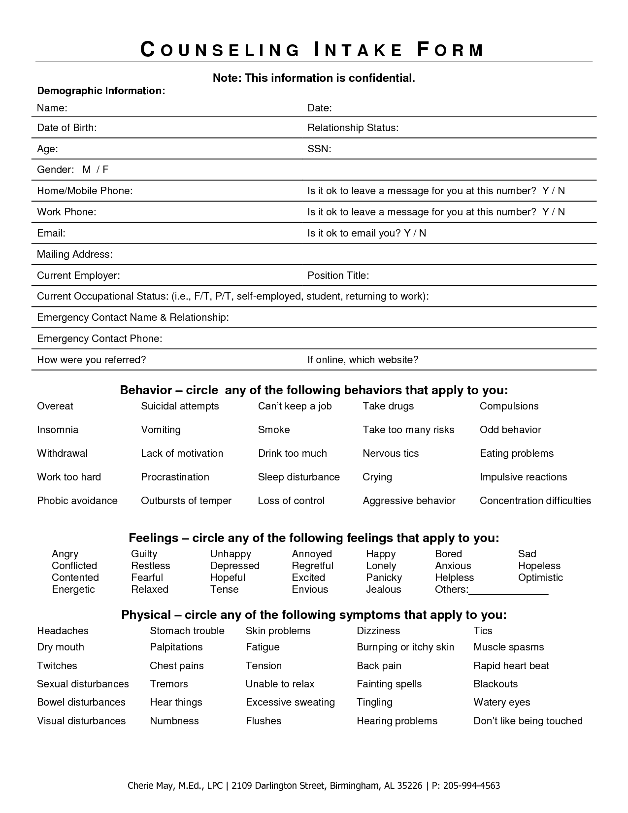 Intake Forms Example For Mental Health Counselors  Private
