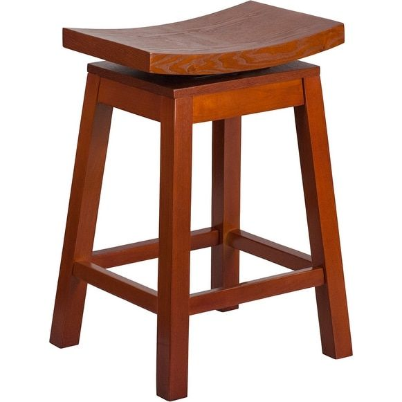 Dublin 26u0027u0027 High Saddle Seat Light Cherry Wood Counter Height Stool With  Auto Swivel Seat Return | Overstock.com Shopping   The Best Deals On Bar  Stools