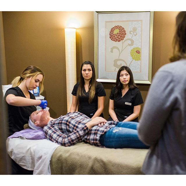 Our lovely estheticians receiving a very in depth training from our Skin Ceuticals rep on chemical peels.  Peels are the best way to get rid of dark spots from sun damage or aging.  They also smooth out texture and refine the appearance of pores.