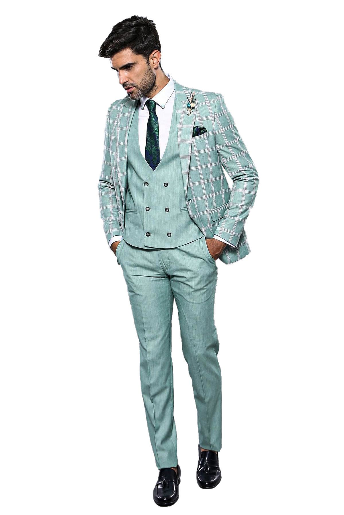 طقم بدلة أخضر فاتح بمربعات رجالي Fashion Suits Jackets