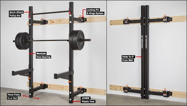 The rogue rml w foldable wall rack gym beam pinterest
