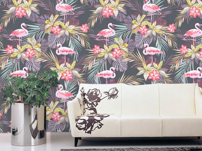 手绘热带雨林植物树叶墙纸V9(图片编号:15634407)_欧式墙纸_我图网