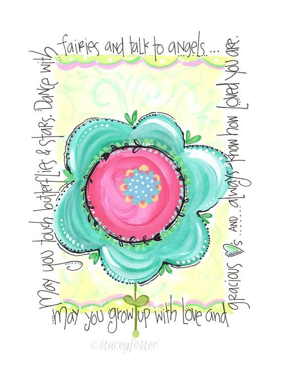 Tween art - Girls art - Toddler art - Trendy room decor - Flower art print - Inspirational art - Hand lettered art - Painting for girls