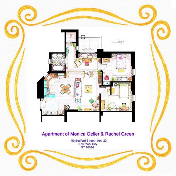 friends monica and rachels apartment floor pland - Rachel Home Plans