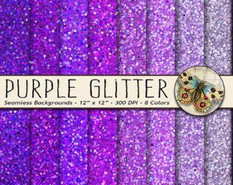 purple glitter digital paper digital sparkle paper in purple